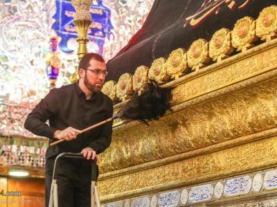 گزارش تصویری/ نظافت حرم مطهر امیرالمومنین علی(ع) در آستانه زیارت اربعین